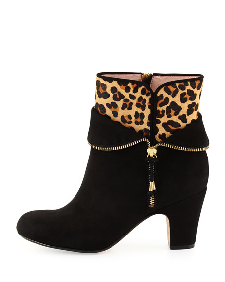 Tempie Leopard-Print Calf-Hair Ankle Boot, Black