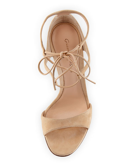 Suede Double Ankle-Wrap Sandal, Nude