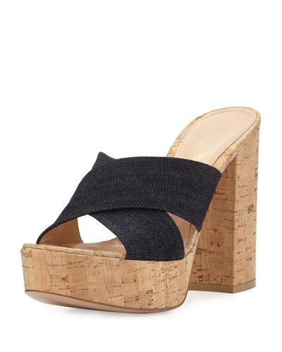 Cassie Crisscross Platform Mule Sandal, Denim
