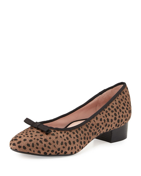 Taryn Rose Freed Calf-Hair Low-Heel Pump, Brown/Black