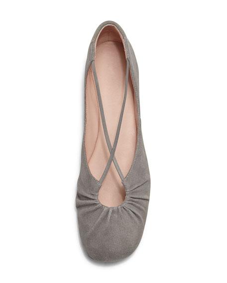 Bryan Ruched Crisscross Ballerina Flat, Frost Gray