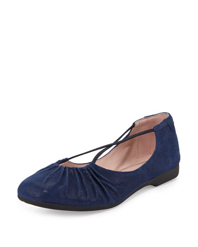 Bryan Ruched Crisscross Ballerina Flat, Medium Blue