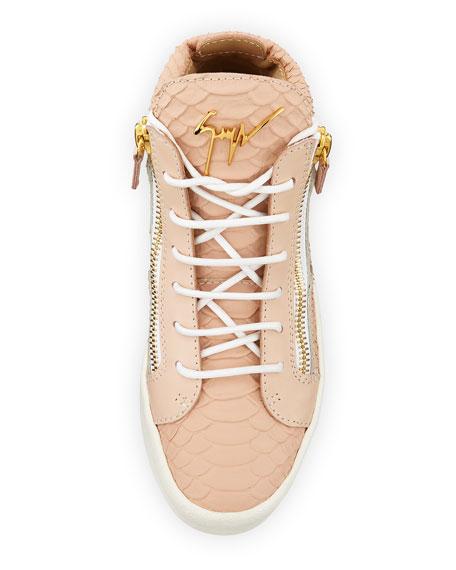 Snake-Embossed High-Top Sneaker, Golia Print Rosa