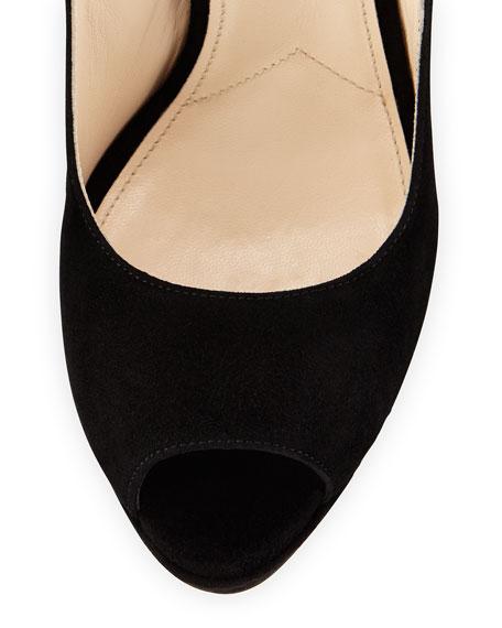 Suede Platform Ankle-Strap Sandal, Nero