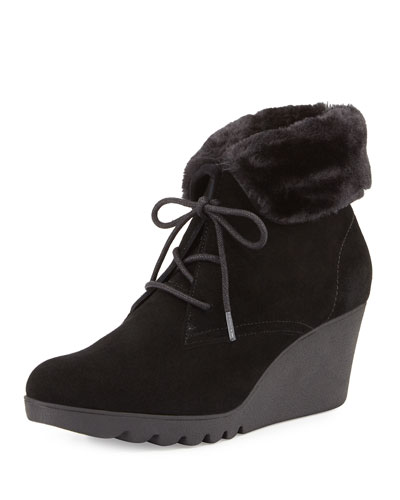 Mari Faux-Fur Trim Ankle Boot, Black