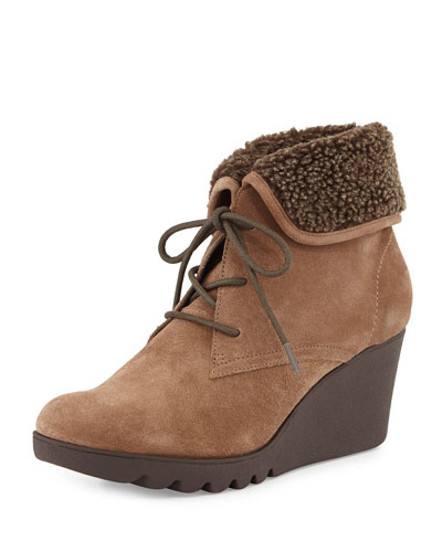 Mari Faux-Fur Trim Ankle Boot, Taupe