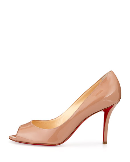 official photos 1ae62 113a2 Youyou Patent 85mm Red Sole Pump Nude