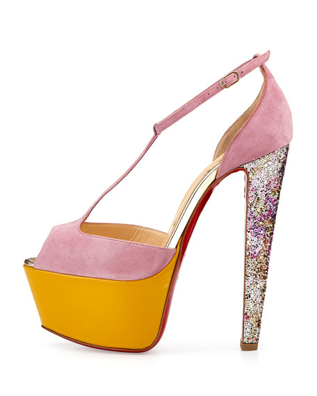 Nenecheritza Platform Red Sole Pump, Pink