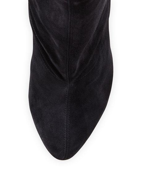 best replica christian louboutin shoes website - Christian Louboutin Scrunch Mid-Calf Suede Red Sole Boot, Dark Gray