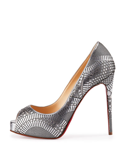 christian louboutin metallic leather pumps