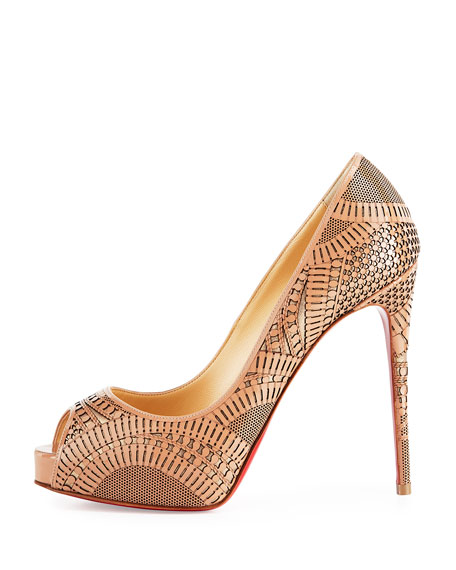 black spiked loafers - Christian Louboutin Suellena Laser-Cut Peep-Toe Red Sole Pump, Nude