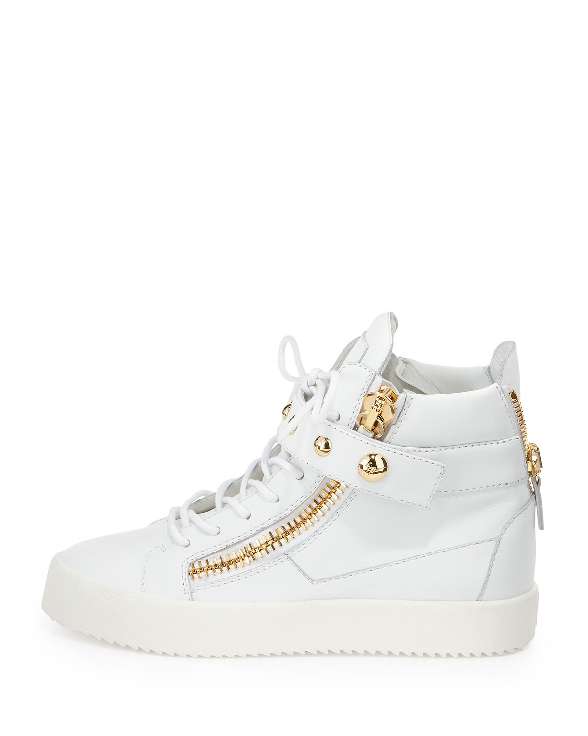 2dd956f97e6ba Giuseppe Zanotti Lamaylorenz Leather High-Top Sneaker, White | Neiman Marcus