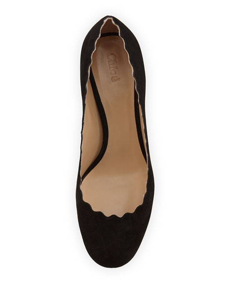 Scalloped Suede Ballerina Pump, Black