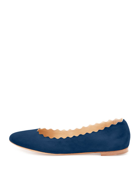 b0c3314c07 Lauren Scalloped Suede Ballerina Flat Blue Lagoon