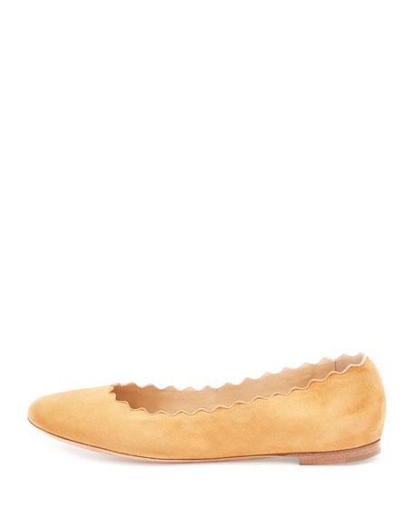 Lauren Scalloped Suede Ballet Flat, Angora Beige