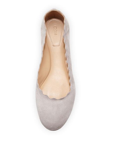 Lauren Scalloped Suede Ballet Flat, Elephant Gray