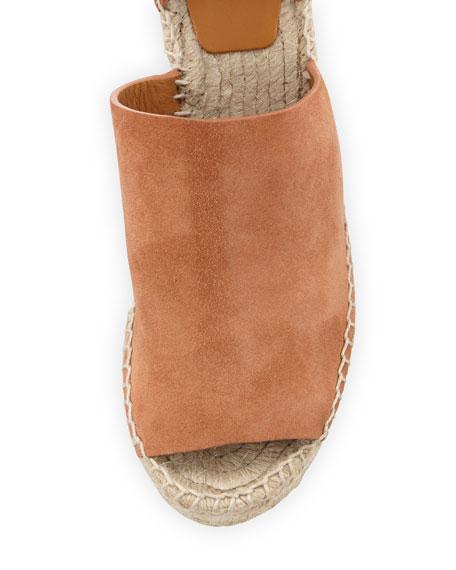 Suede Ankle-Wrap Espadrille Sandal, Camel