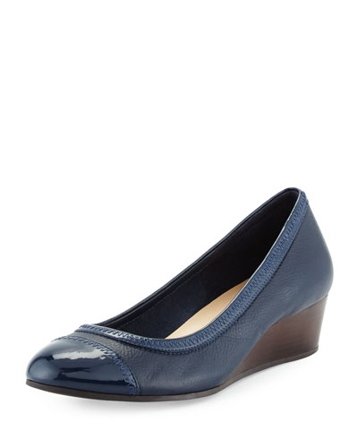 Elsie Cap-Toe Wedge Pump, Blazer Blue