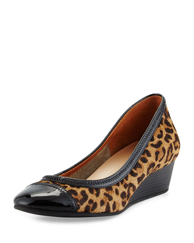 Elsie Calf-Hair Wedge Pump, Tan/Black