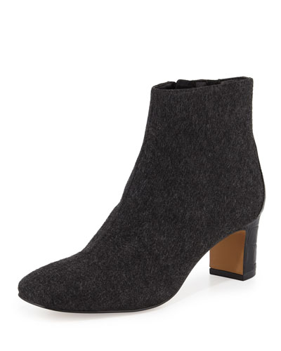Jax Embossed-Trim Ankle Bootie, Dark Gray