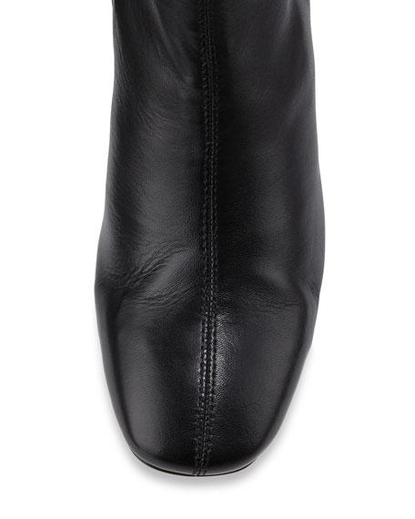 Jax Contrast-Heel Leather Bootie, Black