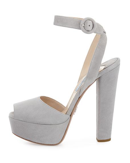 Suede Platform Sandal, Nude