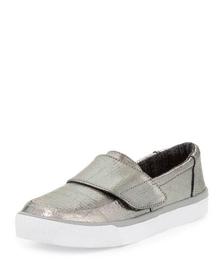 TOMS Altair Metallic Leather Slip-On Sneaker, Gunmetal