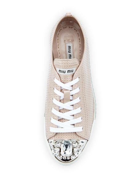 Allacciate Jewel-Toe Perforated Low-Top Sneaker, Cipria