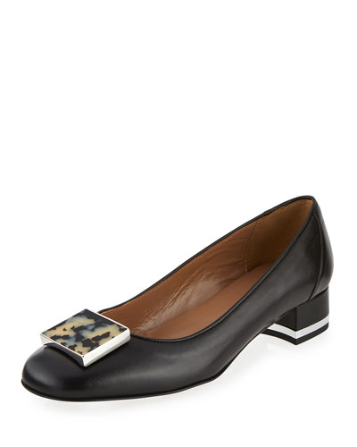 Deena Leather Tortoiseshell-Buckle Pump, Black