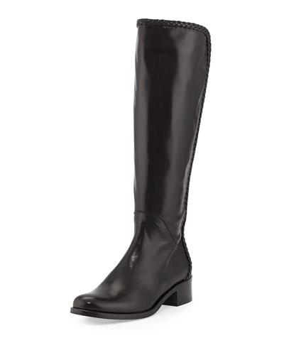 Cadee Braided-Trim Knee Boot, Black