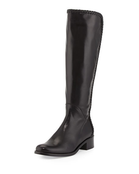 Sesto Meucci Cadee Braided-Trim Knee Boot, Black