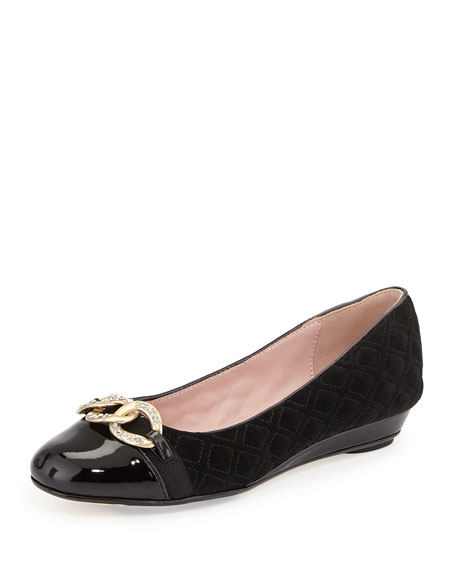 Taryn Rose Priya Chain-Link Suede Ballerina Flat, Black