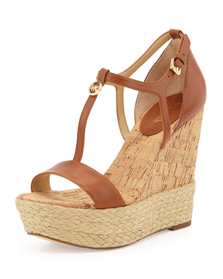 MICHAEL Michael Kors Kerri Cork Wedge Sandal, Luggage