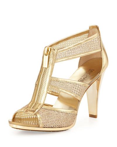 Berkley Metallic Zip-Front Sandal, Pale Golden