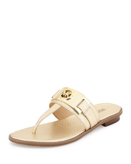 MICHAEL Michael Kors Warren Saffiano Thong Sandal, Pale Golden