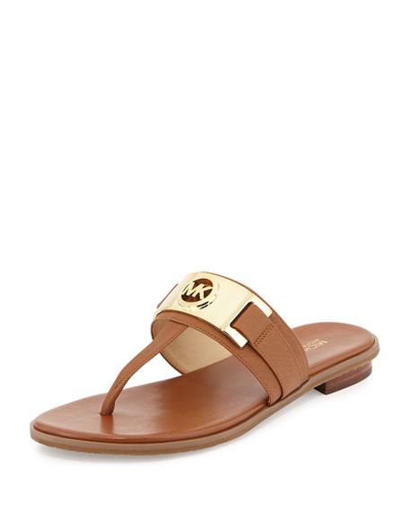MICHAEL Michael Kors Warren Saffiano Thong Sandal, Luggage