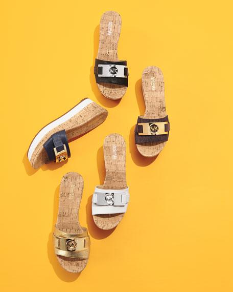 ff29d25986 MICHAEL Michael Kors Warren Platform Wedge Sandal, Pale Golden | Neiman  Marcus