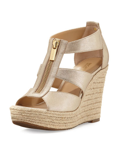 Damita Metallic Zip-Front Wedge Sandal, Pale Golden