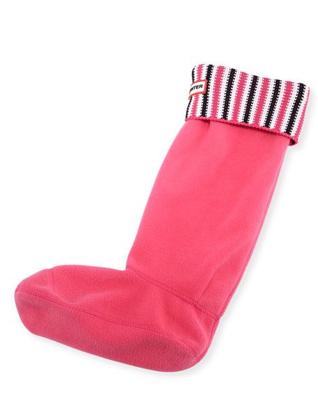 Hunter Boot Deck Chair Striped Boot Sock, Bright Cerise/Black
