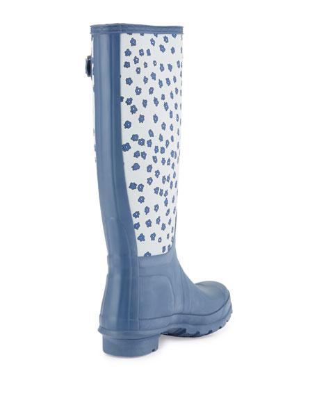 Original Tall Festival Floral Rain Boot, Adventure Blue/Dove Gray