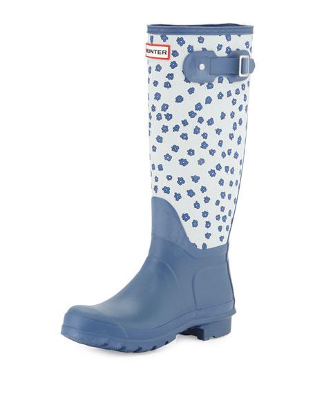 Hunter Boot Original Tall Festival Floral Rain Boot, Adventure Blue/Dove Gray