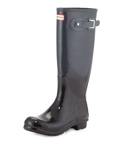 Original Tall Gloss Rain Boot, Black/Dark Slate