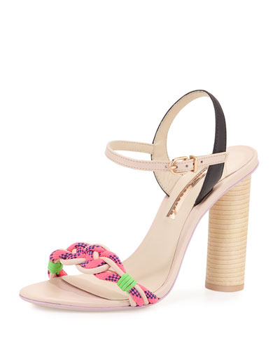 Atlanta Braided Leather Sandal, Pink