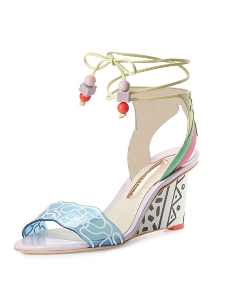 Sophia Webster Sandi Malibu Ankle-Wrap Wedge Sandal, Multi
