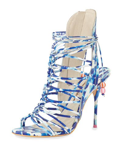 Lacey Lace-Up Gladiator Sandal, Blue