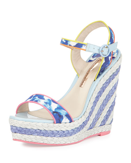 Sophia Webster Lucita Printed Espadrille Wedge Sandal, Oceana/Multi