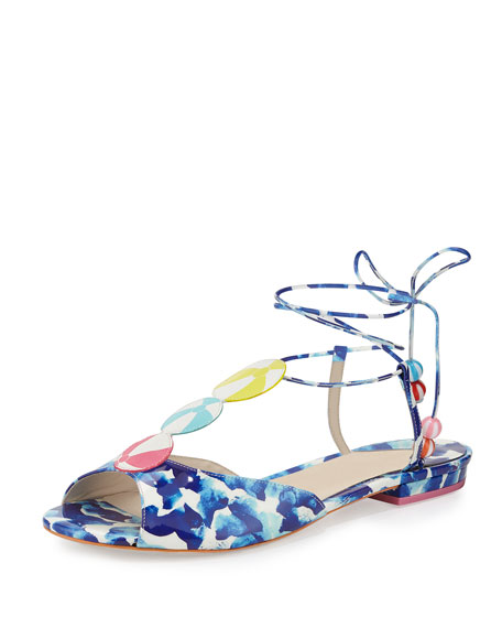 Sophia Webster Oceana Beachball Flat Sandal, Blue