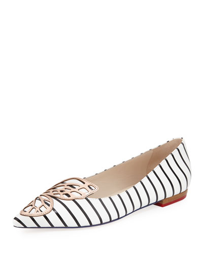 Bibi Nautical-Stripe Butterfly Flat, Black/White