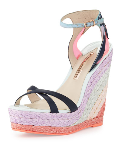 Lucita Leather Espadrille Wedge Sandal, Malibu Sunrise