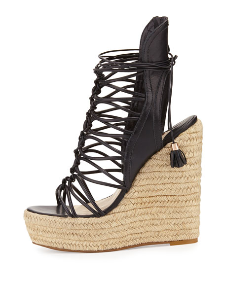 Lacey Lace-Up Gladiator Wedge Sandal, Black